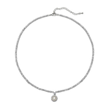 jcpenney.com | Cultured Freshwater Pearl and Cubic Zirconia Drop Necklace
