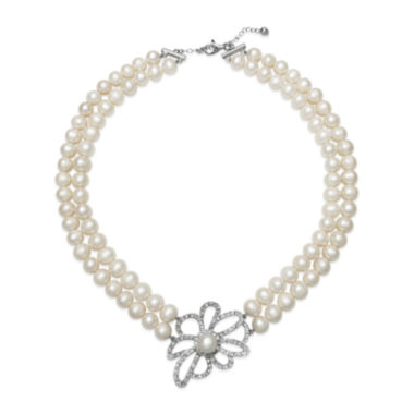 jcpenney.com | Cultured Freshwater Pearl and Crystal Two-Row Floral Necklace