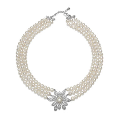 jcpenney.com | Cultured Freshwater Pearl and Crystal Three-Row Necklace