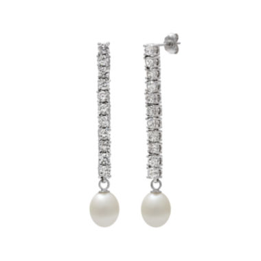 jcpenney.com | Cultured Freshwater Pearl and Cubic Zirconia Linear Earrings