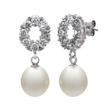 jcpenney.com | Cultured Freshwater Pearl and Cubic Zirconia Drop Earrings