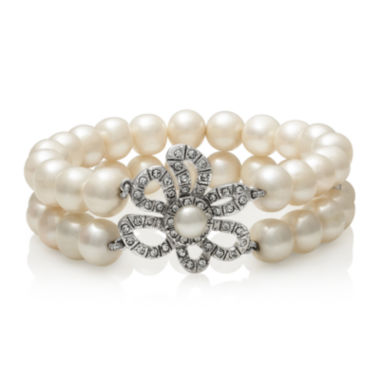 jcpenney.com | Cultured Freshwater Pearl and Crystal Two-Row Stretch Bracelet