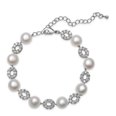 jcpenney.com | Cultured Freshwater Pearl and Cubic Zirconia Silver-Plated Bracelet