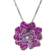 Lab-Created Ruby and White Sapphire Flower Pendant Necklace