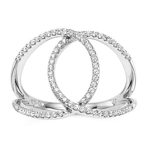 1/4 CT. T.W. Diamond 10K White Gold Interlocking Circle Ring