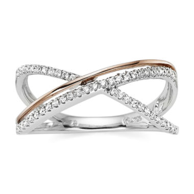 jcpenney.com | 1/5 CT. T.W. Diamond 10K Two-Tone Gold X Ring