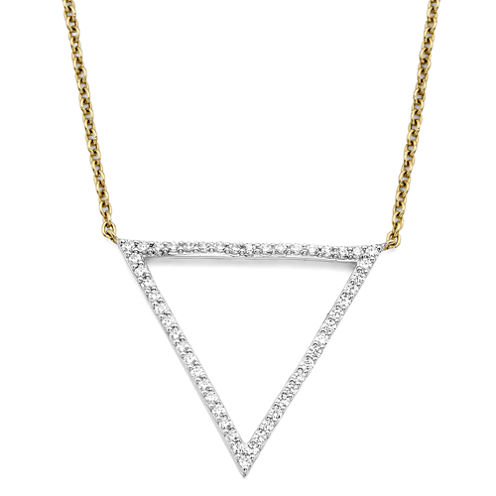 1/4 CT. T.W. Diamond 10K Yellow Gold Triangle Necklace