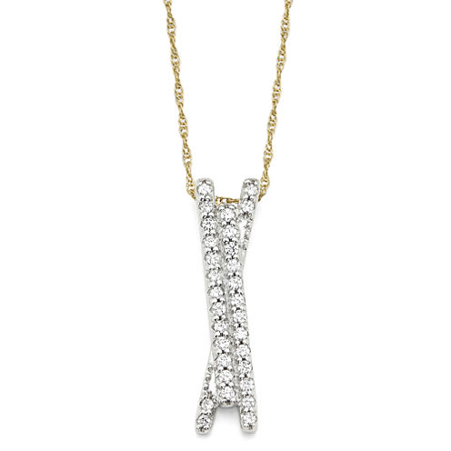 1/5 CT. T.W. Diamond 10K Yellow Gold 3-Row X Pendant Necklace