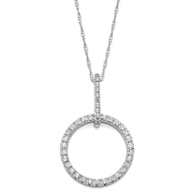 jcpenney.com | 1/4 CT. T.W. Diamond 10K White Gold Openwork Circle Pendant Necklace