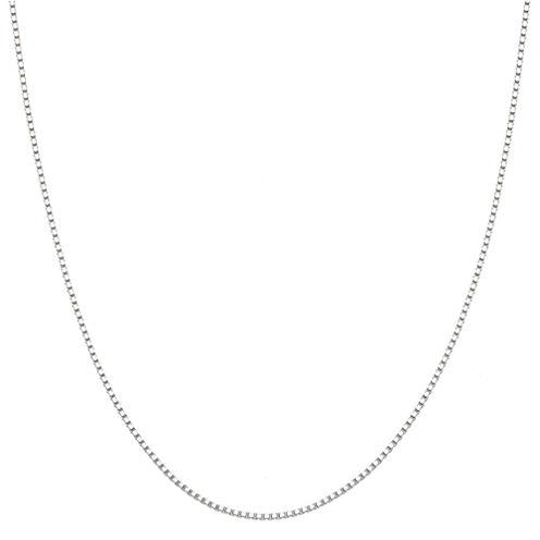 "14K White Gold 20"" Box Chain Necklace"