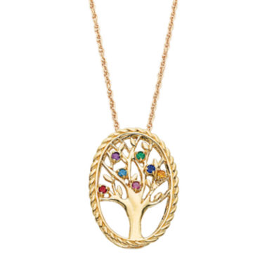 jcpenney.com | Personalized Birthstone Family Tree 14K Gold Over Brass Pendant Necklace