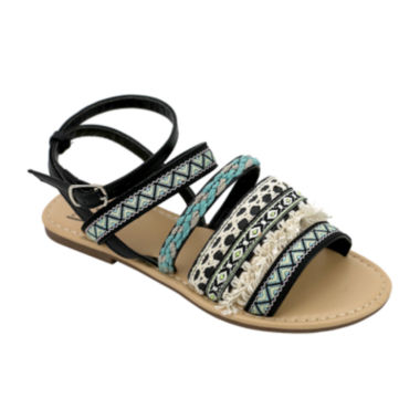 jcpenney.com | OMGirl Izzy Multicolor Tapestry Buckle-Back Girls Strappy Sandals - Little Kids