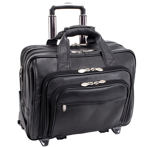 "MCKLEIN GOLD COAST LEATHER 17"" DETACHABLE-WHEELED LAPTOP CASE [PATENTED]"
