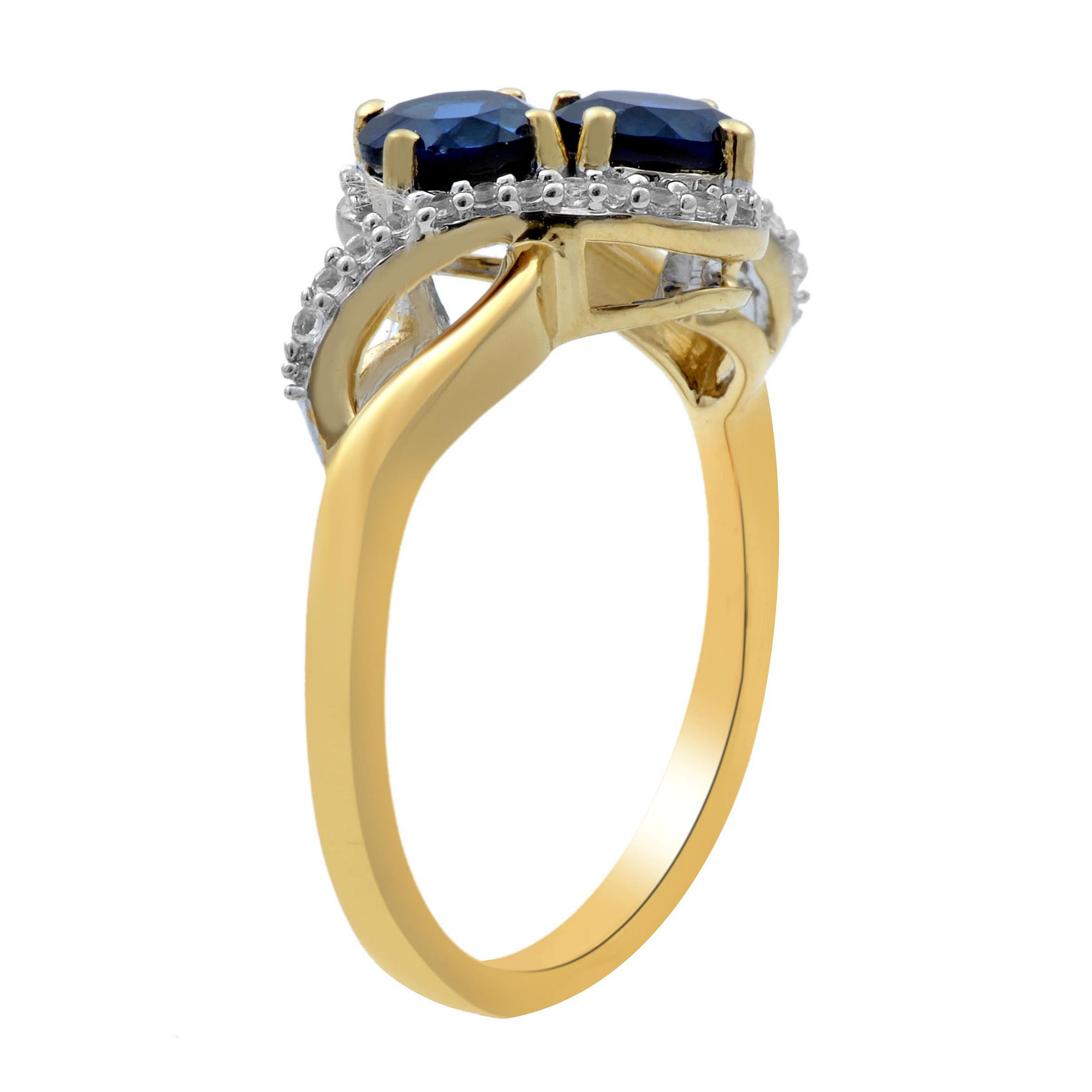 Womens Blue Sapphire Gold Over Silver Cocktail Ring