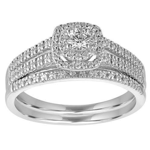 I Said Yes Womens 1/2 CT. T.W. White Diamond Platinaire Bridal Set