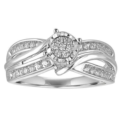 I Said Yes Womens 1/4 CT. T.W. Round White Diamond Platinaire Engagement Ring