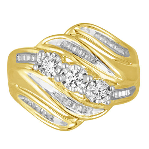 Love Lives Forever Womens 1/2 CT. T.W. Round White Diamond 10K Gold Engagement Ring