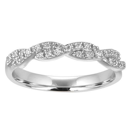 Womens 1/5 CT. T.W. White Diamond 10K Gold Wedding Band