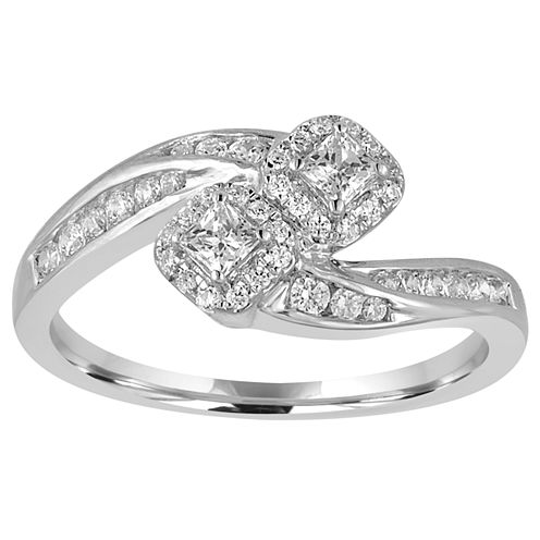 Two Forever Womens 1/2 CT. T.W. Genuine Round White Diamond 10K Gold Engagement Ring