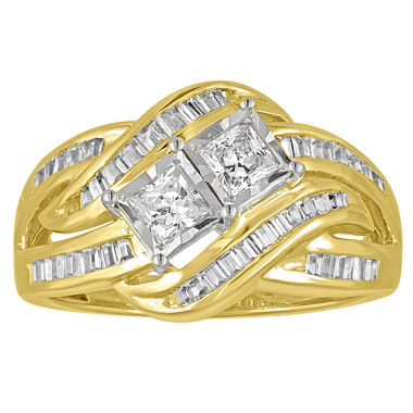 jcpenney.com | Two Forever Womens 1 CT. T.W. Princess White Diamond 10K Gold Engagement Ring