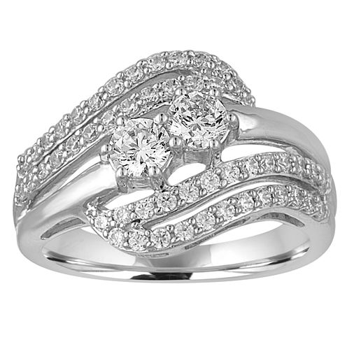 Two Forever Womens 1 CT. T.W. Round White Diamond 10K Gold Engagement Ring