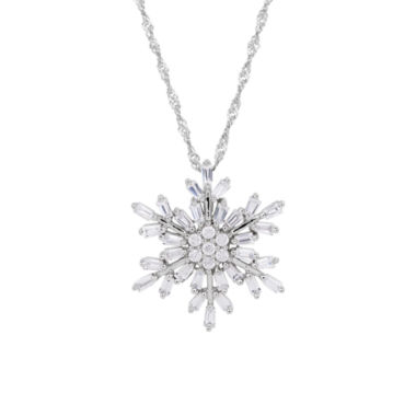 jcpenney.com | Sterling Silver Cubic Zirconia Baguette Snowflake Pendant Necklace