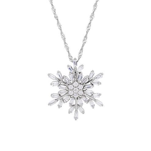 Sterling Silver Cubic Zirconia Baguette Snowflake Pendant Necklace