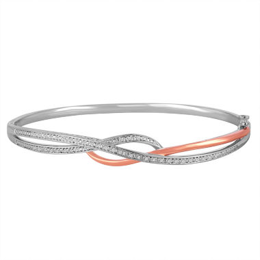 jcpenney.com | 1/10 CT. T.W. Diamond Sterling Silver With 14K Rose Gold Over Silver Accent Bangle Bracelet