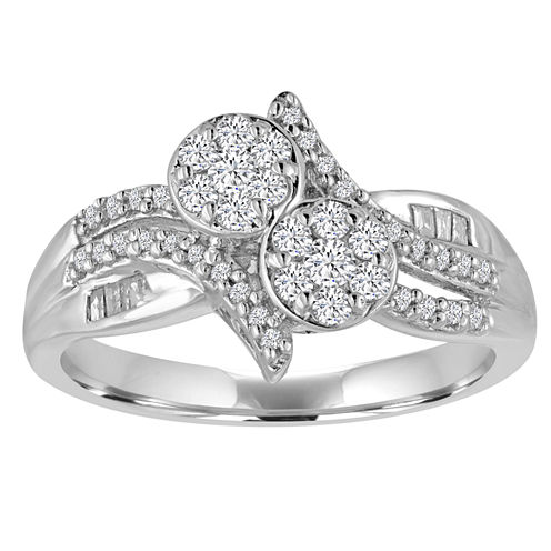 diamond blossom 3/8 CT. T.W. Diamond 2-Stone Sterling Silver Ring