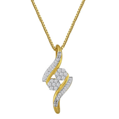 jcpenney.com | diamond blossom 1/10 CT. T.W. Diamond 14K Gold Over Silver Pendant Necklace