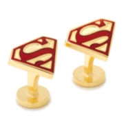 Gold Enamel Superman Cuff Links