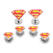 Enamel Superman Shield Tuxedo Stud Set