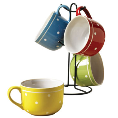 jcpenney.com | Tabletops Unlimited Polka Dot 5-pc. Coffee Mug