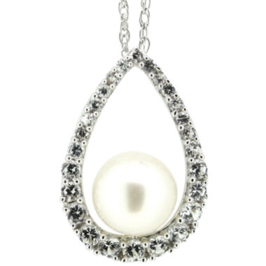 jcpenney.com | Freshwater Pearl & Lab-Created Sapphire Pendant Necklace