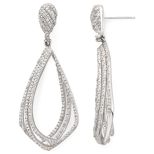 Diamond Addiction 1/10 CT. T.W. Sterling Silver/Brass Diamond Drop Earrings