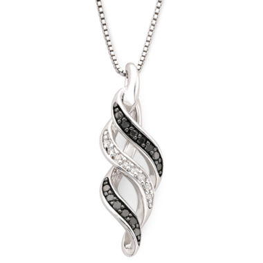 jcpenney.com | 1/10 CT. T.W. White & Color-Enhanced Black Diamond Swirl Pendant Necklace
