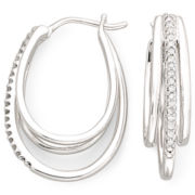 1/10 CT. T.W. Sterling Silver Diamond Multi Hoop Earrings