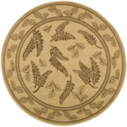 Courtyard Leaves Indoor/Outdoor Round Rugs