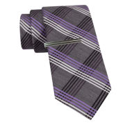 JF J. Ferrar® Plaid Tie and Tie Bar Set - Slim