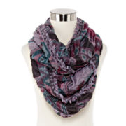 Aztec-Print Pleated Loop Scarf