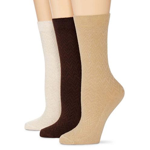Mixit™ 3-pk. Chevron Textured Crew Socks