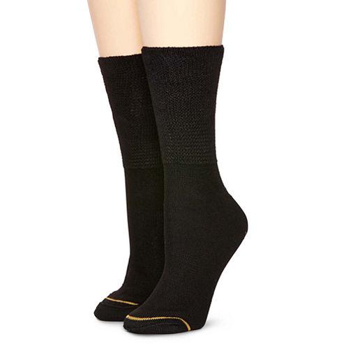 GoldToe® 2-pk. Non-binding Crew Socks