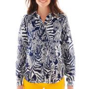 jcp™ Long-Sleeve Silk-Blend Shirt - Tall