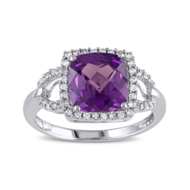 jcpenney.com | Cushion-Cut Lab-Created Alexandrite and 1/6 CT. T.W. Diamond 10K White Gold Ring