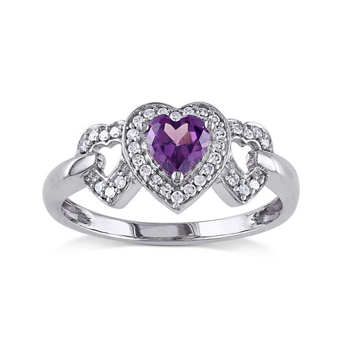 Lab-Created Alexandrite and Diamond-Accent 10K White Gold Triple-Heart Ring