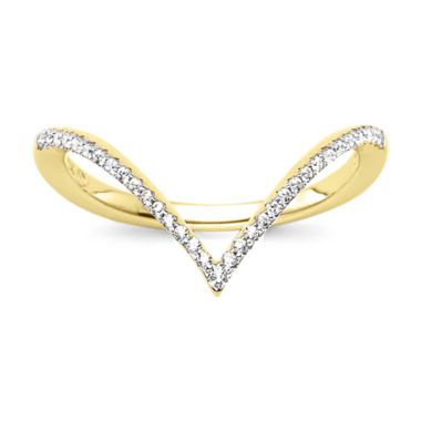 jcpenney.com | 1/10 CT. T.W. Diamond 10K Yellow Gold Chevron Knuckle Ring