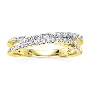 jcpenney.com | 1/4 CT. T.W. Diamond 10K Yellow Gold 3-Row X Ring
