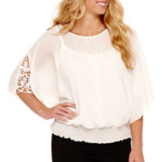 by&by 3/4-Sleeve Chiffon Smocked-Bottom Blouse - Plus