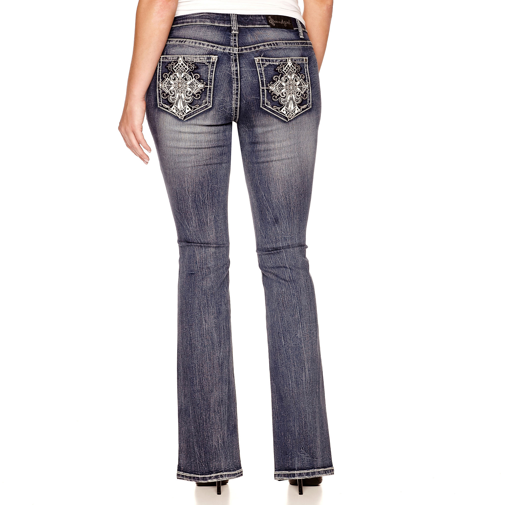 Soundgirl Studded-Cross Bootcut Jeans - Juniors Plus plus size,  plus size fashion plus size appare