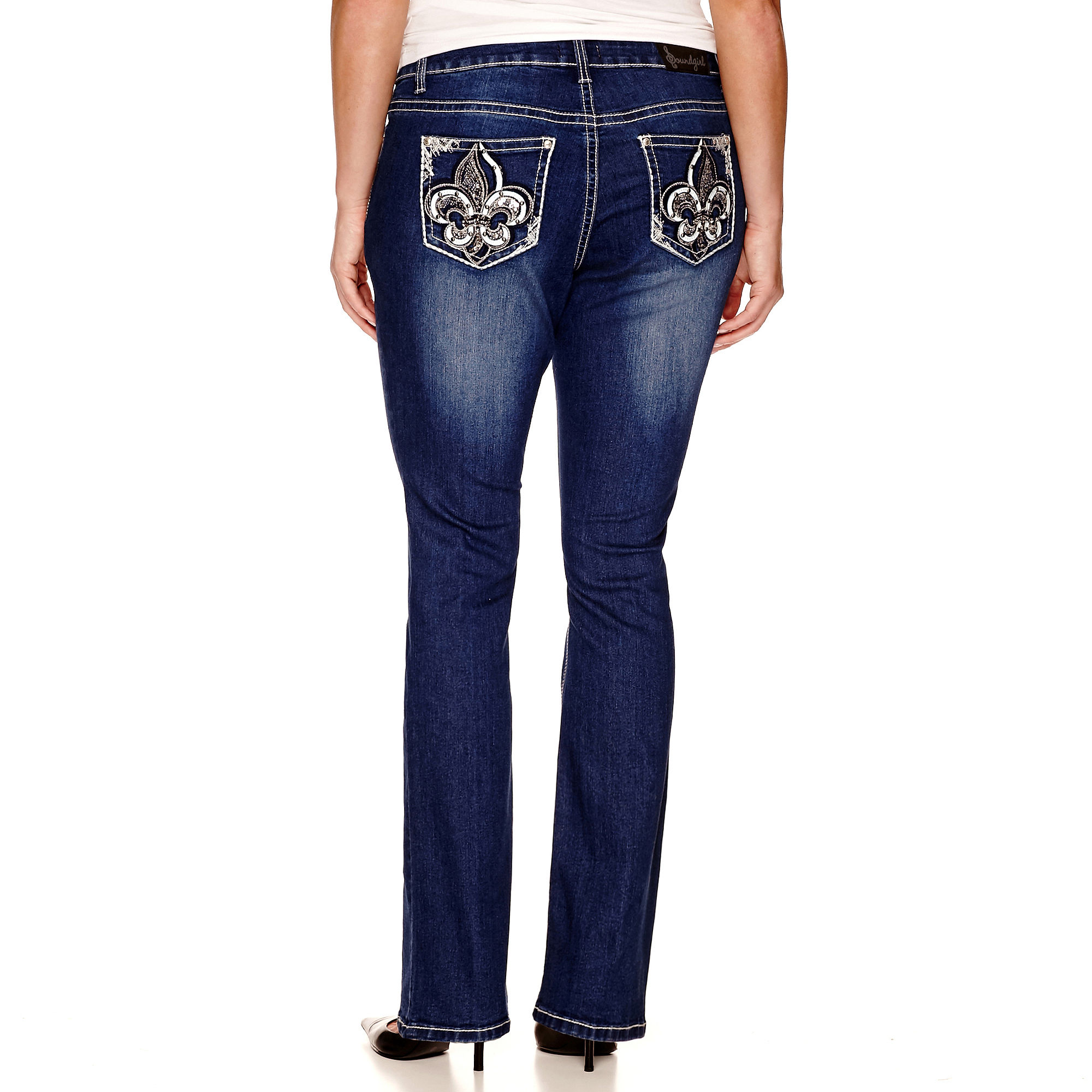 Soundgirl Fleur-de-Lis Destructed Bootcut Jeans - Juniors Plus plus size,  plus size fashion plus size appare
